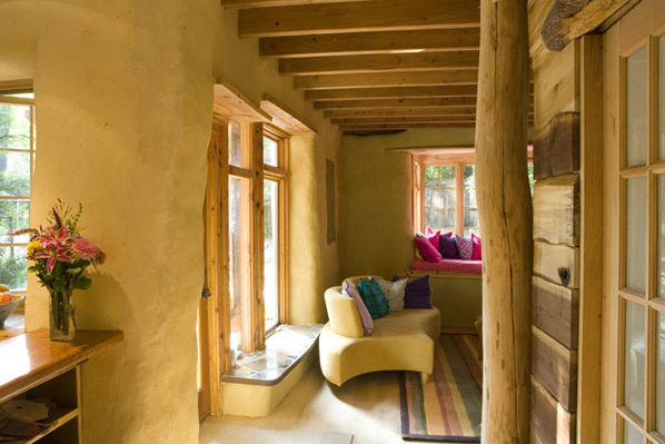 Sitting room made from straw bale.