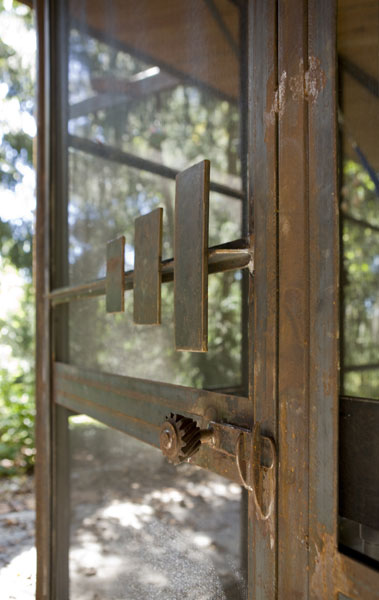 Repurposed steel door.