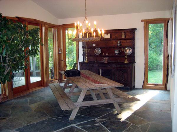 Slate floor, wood and windows.