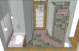 Sketchup of bathroom tile