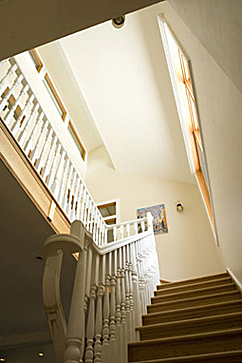 Central staircase with clerestory windows.