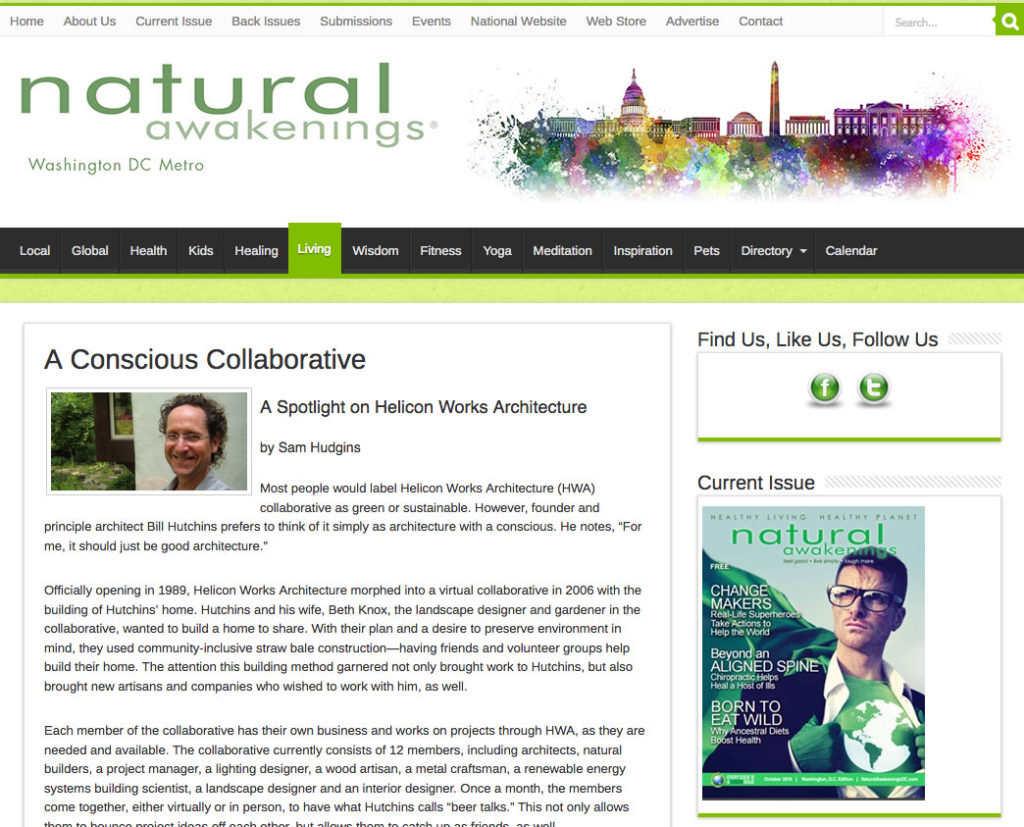 Natural Awakenings article of Helicon Works Architects
