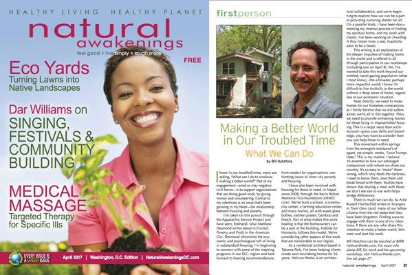 Making a Better World - Bill Hutchins Helicon Works Architects article Natural Awakenings Magazine