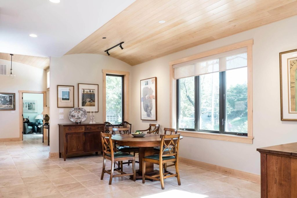 Dining-room-with-vaulted-paneled-ceiling-Accessible-home-for-retired-couple-Chevy-Chase-MD